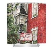 Village Lamplight Shower Curtain by Debbie DeWitt