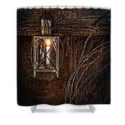 Vintage Lantern Hung In A Barn Shower Curtain by Jill Battaglia