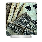 Vintage Playing Cards And Cash Shower Curtain by Jill Battaglia