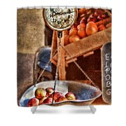 Vintage Scale At Fruitstand Shower Curtain by Jill Battaglia