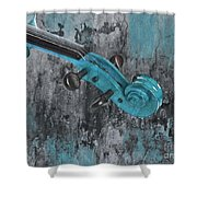 Violinelle - Turquoise 04d2 Shower Curtain by Variance Collections