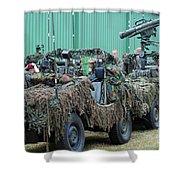 Vw Iltis Jeeps Of A Recce Scout Unit Shower Curtain by Luc De Jaeger