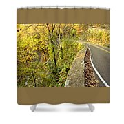 W Road In Autumn Shower Curtain by Tom and Pat Cory