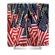 Wall Of Us Flags Shower Curtain by Carolyn Marshall