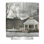 Warm Gazebo On A Cold Day Shower Curtain by Brett Engle