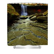 Warm Sky Cool Water Shower Curtain by Frozen in Time Fine Art Photography