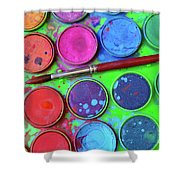 Watercolor Palette Shower Curtain by Carlos Caetano
