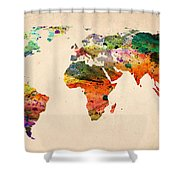 Watercolor World Map  Shower Curtain by Mark Ashkenazi