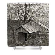 Weathered Hillside Barn Shower Curtain by John Stephens
