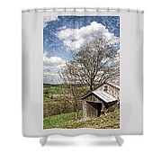 Weathered Hillside Barn Spring Shower Curtain by John Stephens