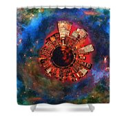 Wee Manhattan Planet - Artist Rendition Shower Curtain by Nikki Marie Smith