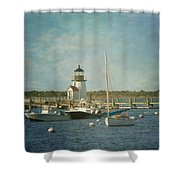 Welcome To Nantucket Shower Curtain by Kim Hojnacki