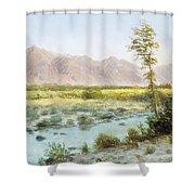Western Landscape Shower Curtain by Albert Bierstadt