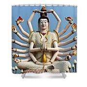 White Buddha Shower Curtain by Adrian Evans