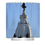 William Penn - On Top Of City Hall Shower Curtain by Bill Cannon