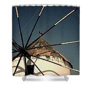 windmill Greece Shower Curtain by Joana Kruse