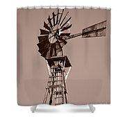 Windmill Sepia Shower Curtain by Rebecca Margraf