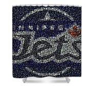 Winnipeg Jets Puck Mosaic Shower Curtain by Paul Van Scott