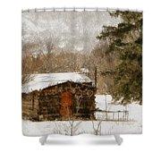Winter Cabin 2 Shower Curtain by Ernie Echols