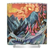 Winter Landscape in Moonlight Shower Curtain by Ernst Ludwig Kirchner