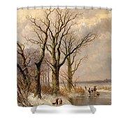 Winter Landscape With Faggot Gatherers Conversing On A Frozen Lake Shower Curtain by Josephus Gerardus Hans
