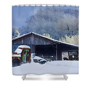 Winter Shed Shower Curtain by Ron Jones