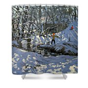 Winter Stream Shower Curtain by Andrew Macara