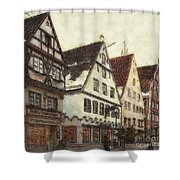 Winterly Old Town Shower Curtain by Jutta Maria Pusl