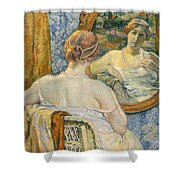 Woman In A Mirror Shower Curtain by Theo van Rysselberghe