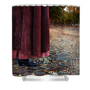 Woman In Vintage Clothing On Cobbled Street Shower Curtain by Jill Battaglia