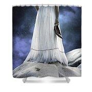 woman on rocks Shower Curtain by Joana Kruse