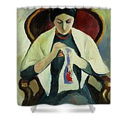 Woman Sewing Shower Curtain by August Macke