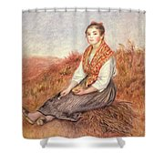 Woman With A Bundle Of Firewood Shower Curtain by Pierre Auguste Renoir