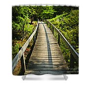 Wooden Walkway Through Forest Shower Curtain by Elena Elisseeva