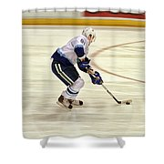 Working The Puck Shower Curtain by Karol Livote
