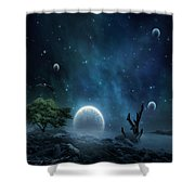 World Beyond Shower Curtain by Lourry Legarde