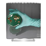 World Inside A Petri Dish Shower Curtain by Photo Researchers