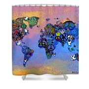 World Peace Tye Dye Shower Curtain by Bill Cannon