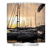 Yachts At Sunset Shower Curtain by Carlos Caetano