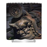 Yakushi-ji Temple Gate Gargoyle - Nara Japan Shower Curtain by Daniel Hagerman