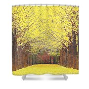 Yellow Trees Shower Curtain by Kume Bryant