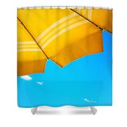 Yellow Umbrella With Sea And Sailboat Shower Curtain by Silvia Ganora