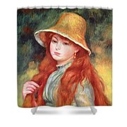 Young Girl With Long Hair Shower Curtain by Pierre Auguste Renoir