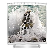 Balance And Energy Shower Curtain by Stelios Kleanthous