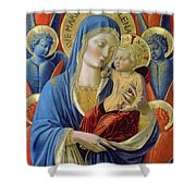 Virgin And Child With Angels Shower Curtain by Benozzo di Lese di Sandro Gozzoli
