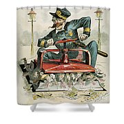 Police Corruption Cartoon Shower Curtain by Granger