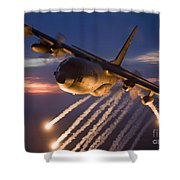 A C-130 Hercules Releases Flares Shower Curtain by HIGH-G Productions