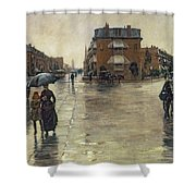 A Rainy Day In Boston Shower Curtain by Childe Hassam