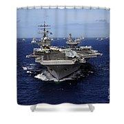 Aircraft Carrier Uss Ronald Reagan Shower Curtain by Stocktrek Images