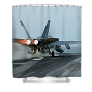 An Fa-18 Hornet Launches Shower Curtain by Stocktrek Images